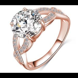 Jewelry - C.Z. Solitaire w/ Infinity Micropave in Rose Gold